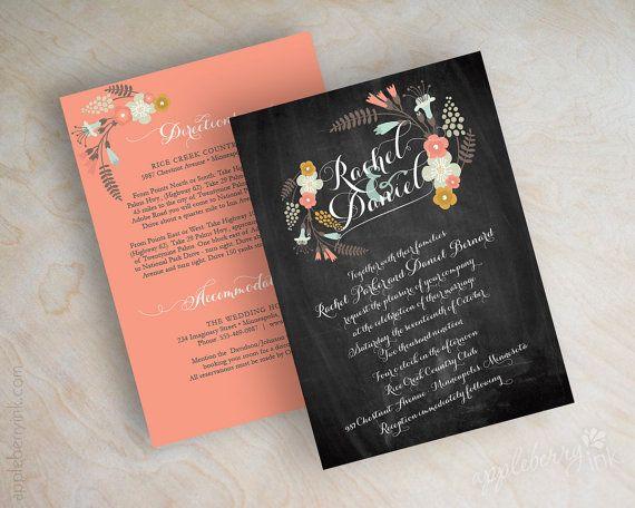 Chalkboard wedding invitations, blackboard wedding invitation, boho chic floral botanical, country chic wedding invite, peach, gray, Myriame