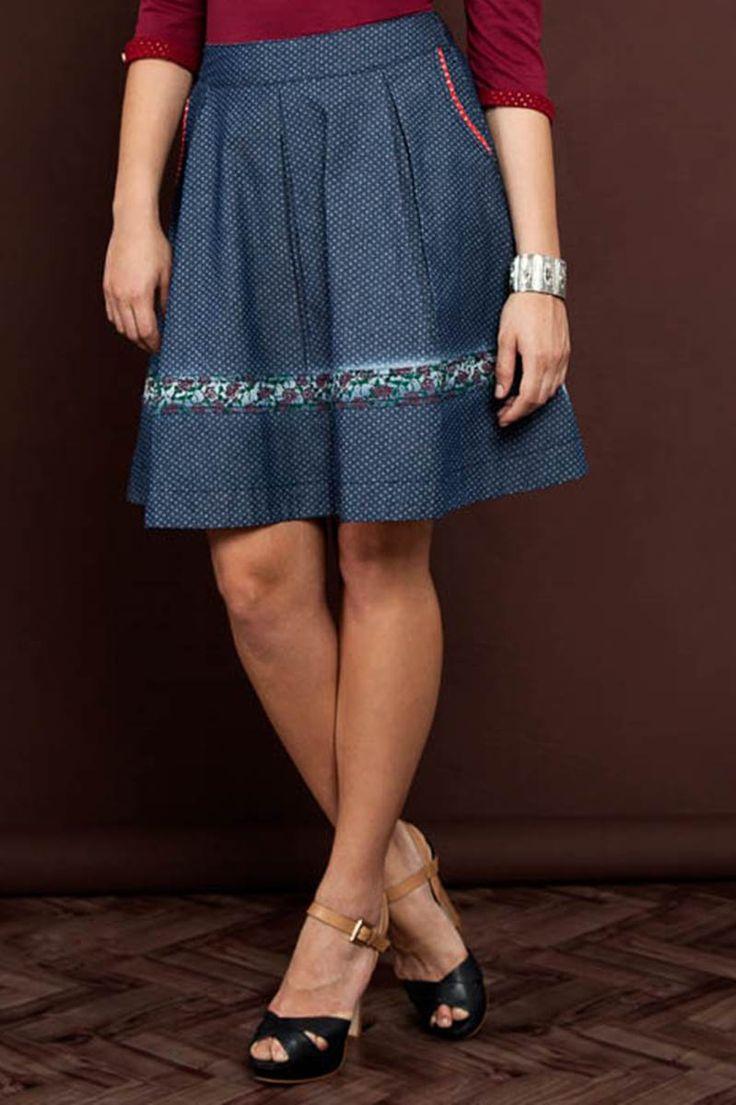 Saia Raje Jeans Godê 12255 é na Saia Bella, Compre Moda Evangélica Online!
