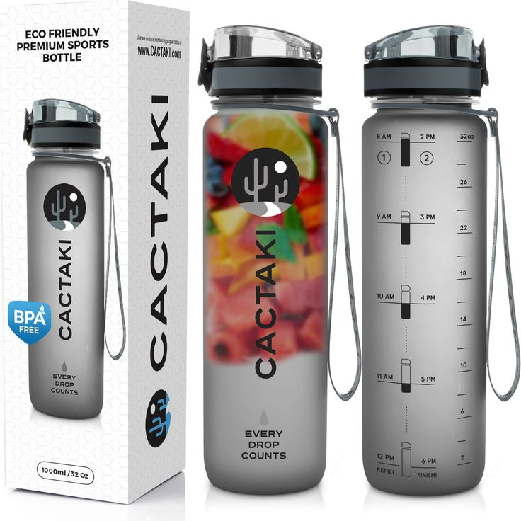 Cactaki Best Sport Water Bottle BPA Free, 1 Liter / 32 Oz, Clear Leak Proof, Time Marker To Track Drink, For Fitness and Outdoor, Men and Women - Grey