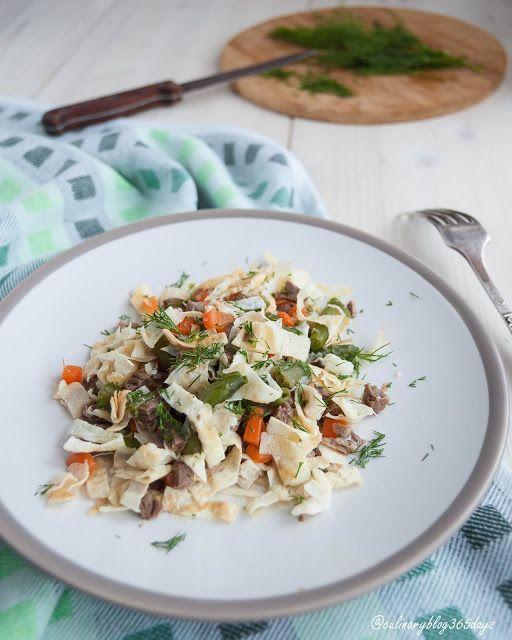 Кулинарный блог 365 дней: Мясной салат со стручковой фасолью и яичными блинч...