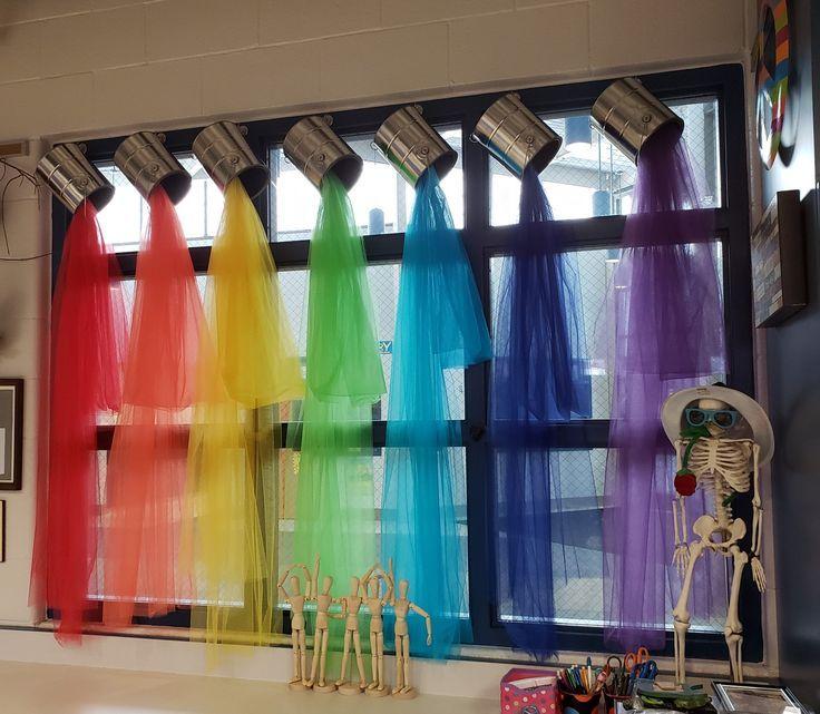 Ich liebe meine neuen Fensterbehandlungen im Klassenzimmer! Diy!