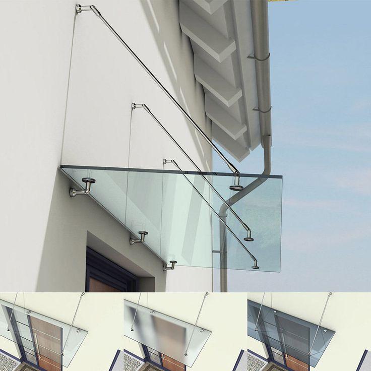 Glasvordach Edelstahl Vordach Glas Türvordach Haustür Überdachung VSG 13mm in Heimwerker, Baustoffe & Holz, Fassade | eBay!
