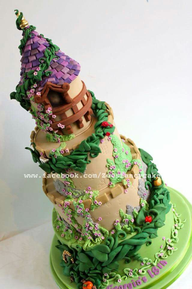 This beautifully-detailed fairytale cake was inspired by the movie Tangled.