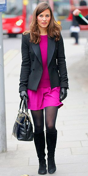 I love this dress Pippa is wearing, especially with the coat and boots in cold weather