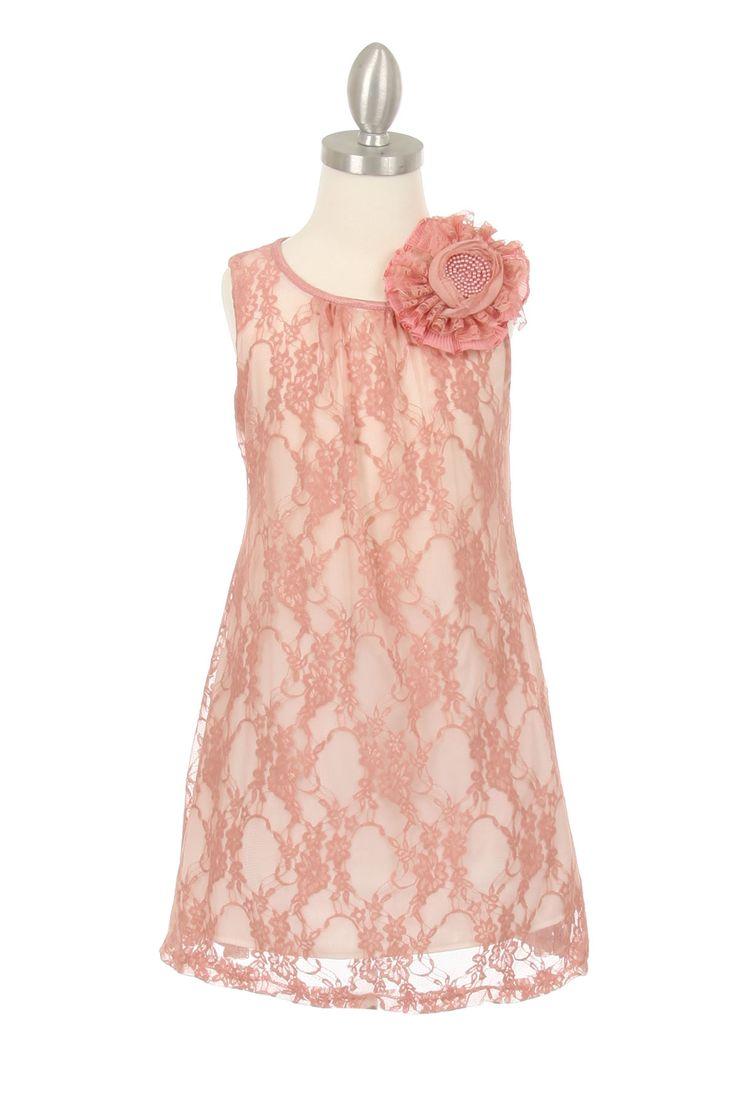 Elegant kanten kinder jurkje met een A-line model in de kleuren oud roze. Kinder feestkleding, feestjurkjes voor kinderen. gelegenheidskleding voor kinderen.
