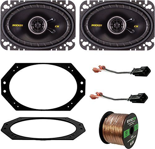 9706 Jeep Wrangler Speaker System Bundle With 2 Kicker 40CS464 4x6 150 Watt Car Audio Speaker  Metra 821011 Speaker Adapter Plate  726512 2Pin Speaker Connector  Enrock 50ft 16g Speaker Wire *** Be sure to check out this awesome product.