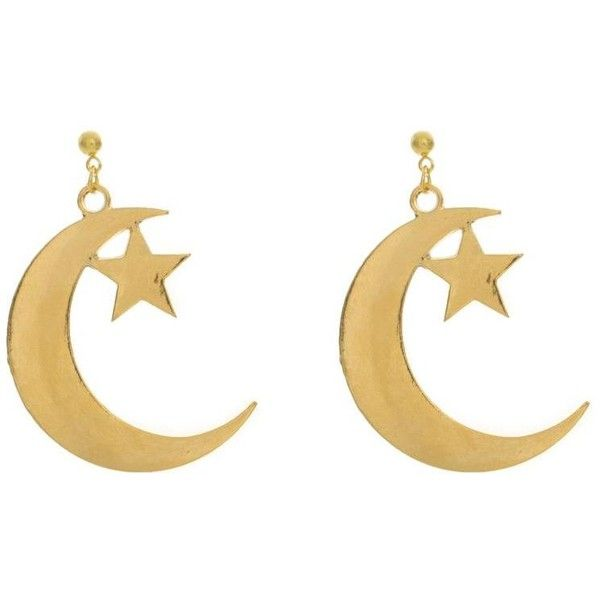 Moon and Star Earrings ($25) ❤ liked on Polyvore featuring jewelry, earrings, earring jewelry, charm jewelry, star charm, earring charms and star jewelry