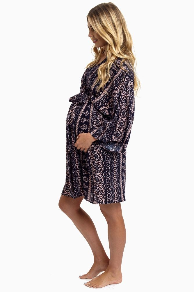 A bohemian printed hospital maternity robe to make sure your visit during and after the hospital is comfortable and stylish.