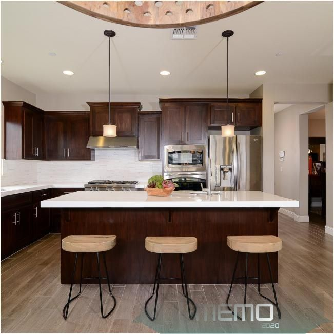 Jun 11 2020 Eat In Transitional Kitchen Has Dark Cabinets And Granite Countertops Hgtv In 2020 Transitional Kitchen Kitchen Cabinets Decor Cherry Cabinets Kitchen