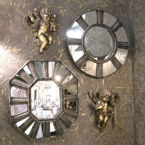Miroirs baroques chehoma rond ou octogonal facettes 75 for Miroir octogonal