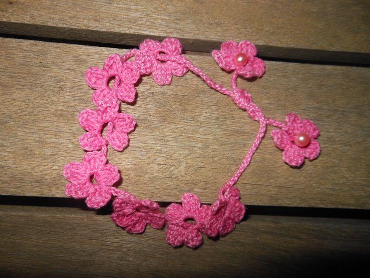 crochet bracelet & crystal beads / βραχιόλι βελονάκι με κρυσταλάκια