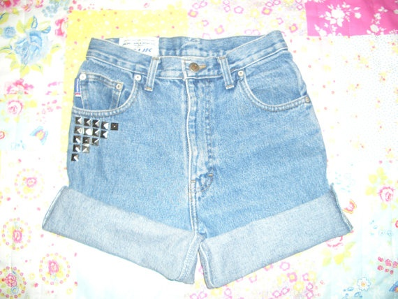 Studded customized vintage Denim Shorts by Wondarlust on Etsy, £15.00