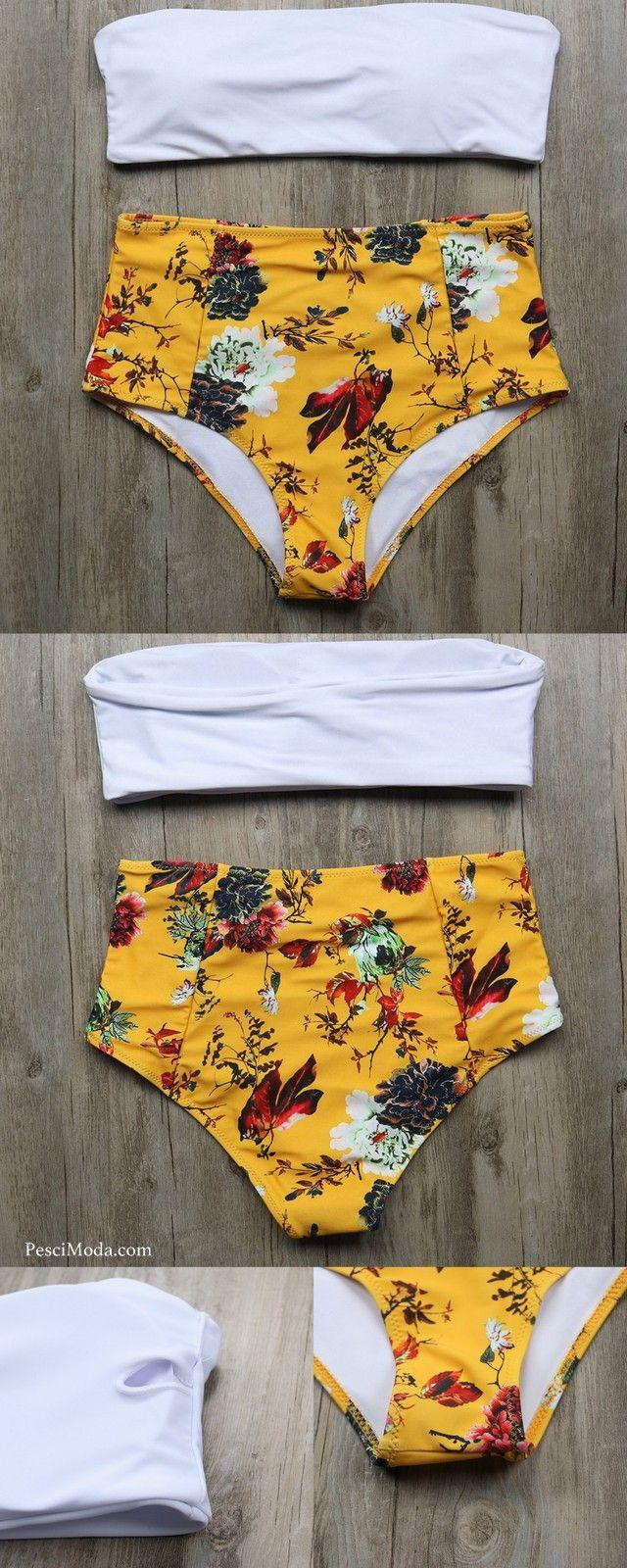 fb0c57da0e 60%OFF Women's Yellow Floral High Waisted Bikini Swimsuits plus  #FREESHIPPING #TwoPieceSwimSet #TwoPieceSwimsuit #TwoPieceOutfit  #TwoPieceSwimwear ...