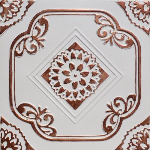 "Deli Accent Copper White (20x20"" Pvc) Ceiling Tile by Antique Ceilings. $13.95. For Glue-on or Nail-on Installation. High quality PVC matterial. Can be painted with most any water or latex based paints. Tin like look from a modern material. Easy to cut. These ceiling tiles are finished in antique design and are made of uniform Plastic. With this technology, it is possible to obtain smooth and even surface. They will give your ceiling an extremely attractive loo..."