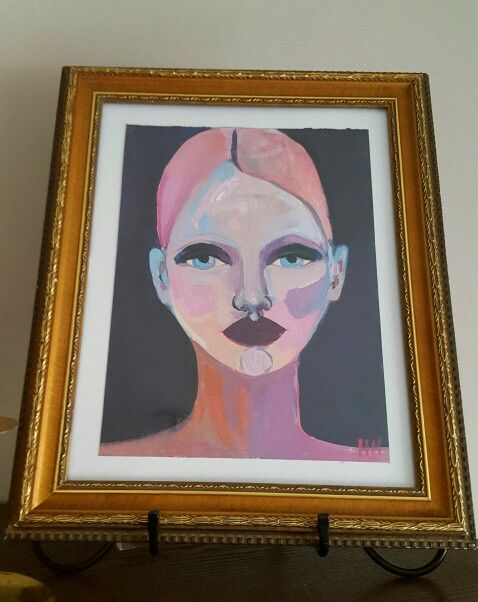 Stylized Oil Portrait By Artist HH Not Sure Where Is From Purchased In