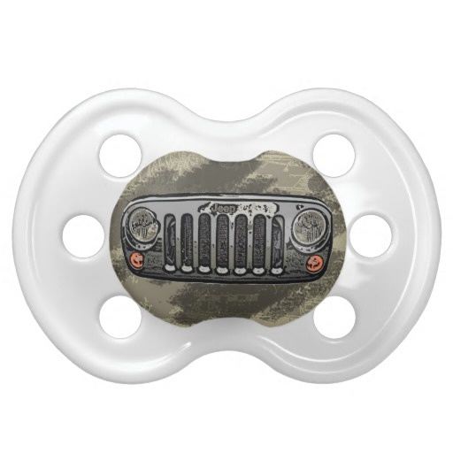 Gray Jeep front baby pacifiers--the husband would love this! lol