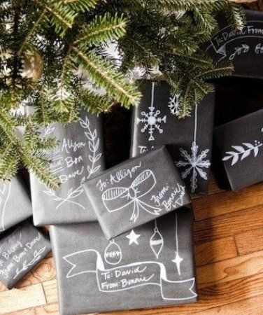 The Best DIY Gift Wrap Ideas Ever - Use black paper and white pens to create a cool chalkboard like design.