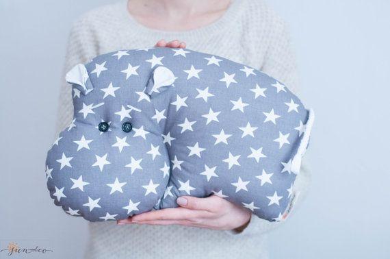 Мягкая игрушка-подушка бегемот гипопопотам декор от SUNandCo