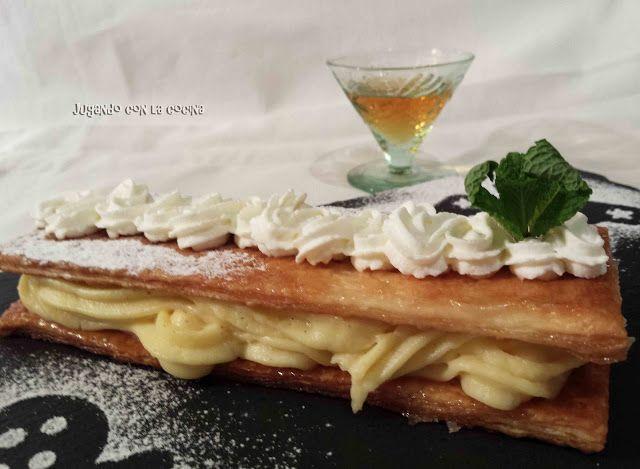 Jugando con la Cocina: Milhojas de hojaldre crujiente con crema pastelera...