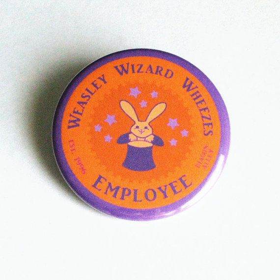 HARRY POTTER BUTTONS Weasley Wizard Wheezes Purple Orange Accessories Large Pinback Buttons