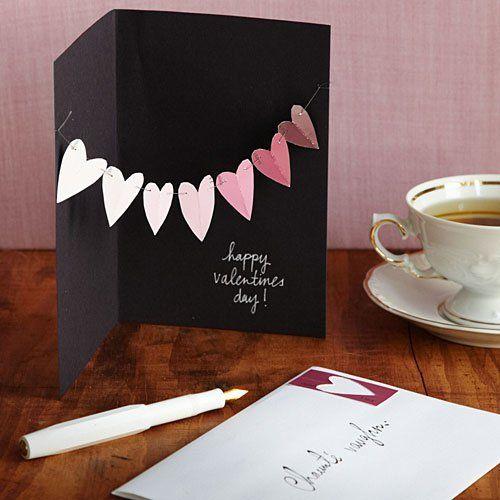 Karten zum Valentinstag basteln schwarzes papier