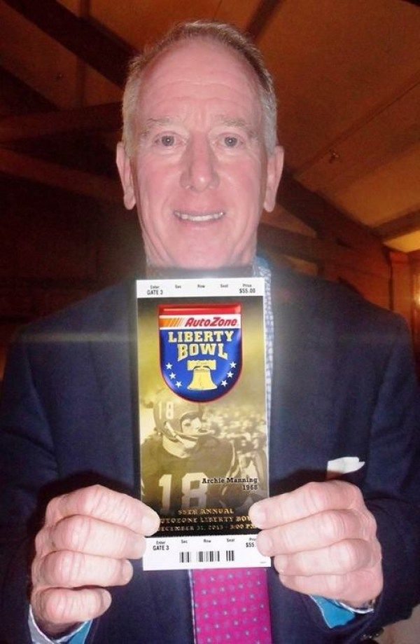 Ole Miss's Archie Manning is on the cover of the Liberty Bowl ticket this year. It also happens to be the bowl that Mississippi State is going to! LOL #HottyToddy