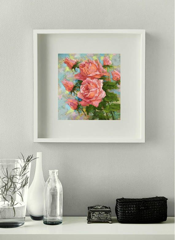 Small Original oil painting floral painted roses contemporary fine art by Aleks Salatov