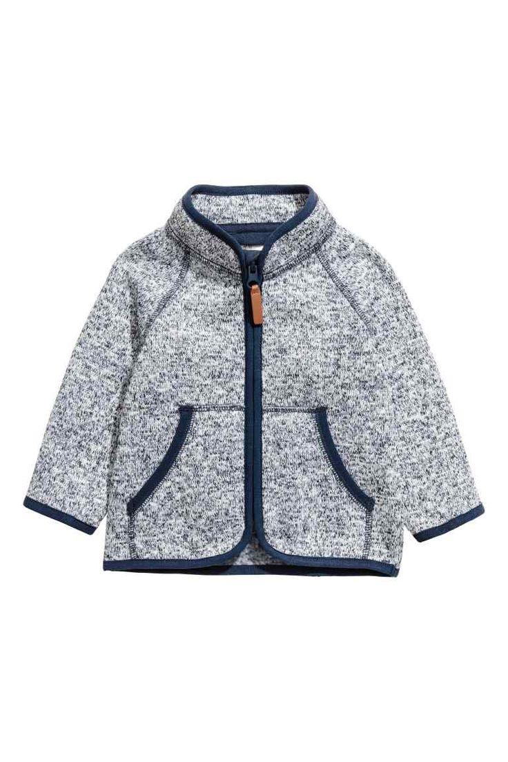 Вязаная флисовая куртка - Синий меланж - Дети | H&M RU 1