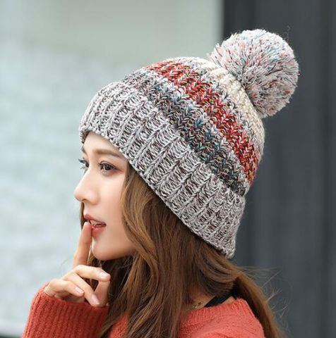 058dace16f0 Yellow and black striped bobble hat for women knit beanie hats with ball on  top