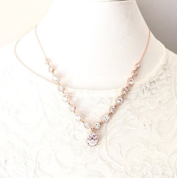 Rose Gold Wedding Necklace, Rose Gold Rhinestone Necklace, Wedding Jewelry, CZ Cubic Zirconia Bridal Necklace, Pink Gold Bridal Jewelry