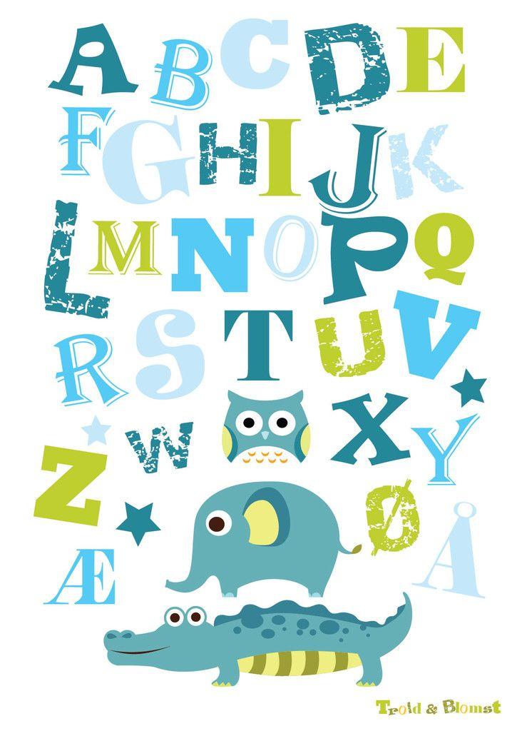 Wallsticker i farven blå med 3 dyr og alfabetet