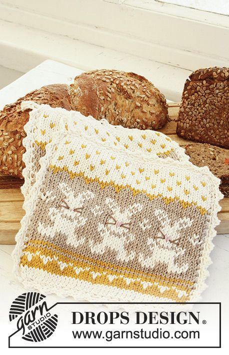 """Knitted DROPS pot holder with pattern for Easter in """"Paris"""". Free pattern by DROPS Design."""