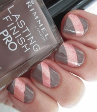 cute! (paint nails with sparkly pink color, let dry, cover diagonal section with tape strip, paint with taupe color, let dry and remove tape?? Im guessing thats close to how this was done. Couldnt find how-to.)