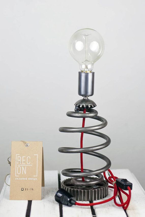 Desk lamp made of pulley spring cogs Modern lamp by RECONrenewed