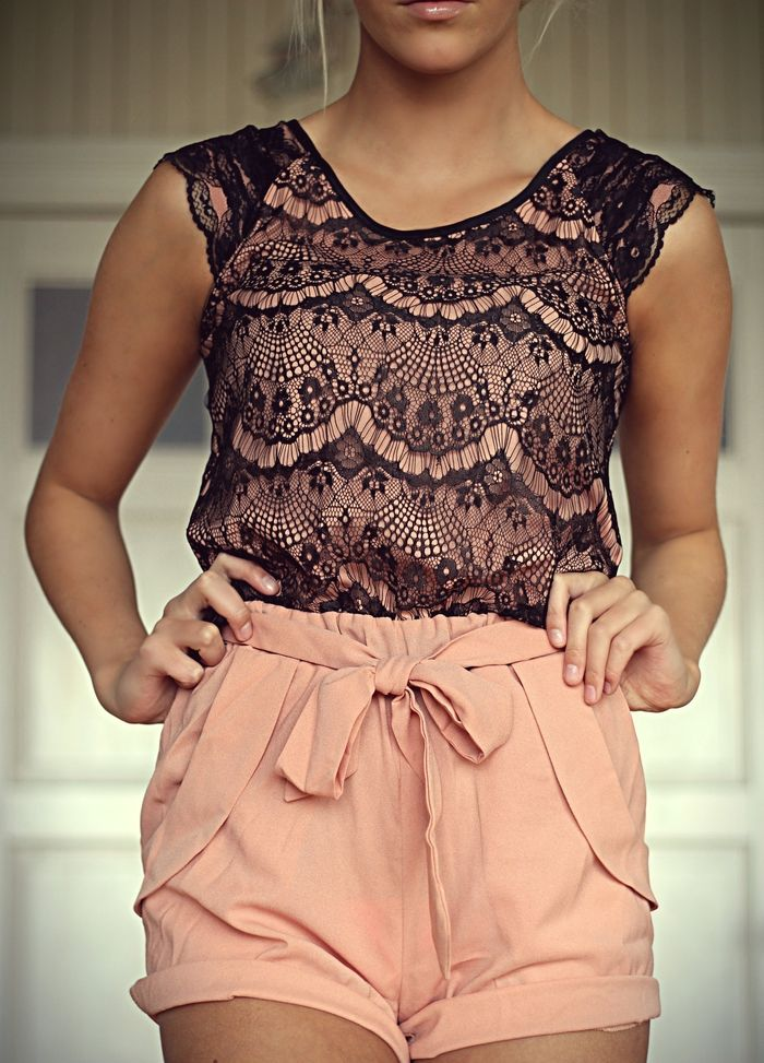 Pink and black lace jumpsuit