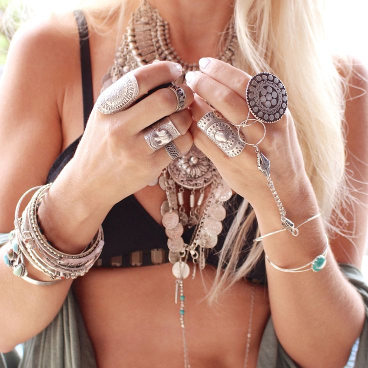 Sexy gypsy style coin layered necklaces, modern hippie stacking rings bangles bracelets with boho chic bikini top. jewelry-gypsy-/ now