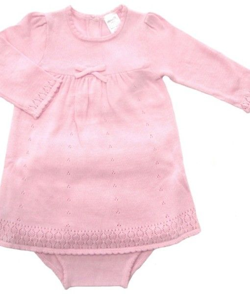 A gorgeous traditional style knitted dress set.  Match this classic with some 'Tilly' tights to keep your girl warm.  This beautiful dress set is just perfect for a present, Christening, Wedding and days out!  Made of soft cotton  In pink or cream.
