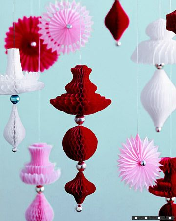 Floating Ornaments    Nearly weightless ornaments seem to hover rather than hang. The honeycomb paper, cut into curvy forms, opens into translucent layers. Vintage metallic beads are used as accents.    How to Make the Floating Ornaments
