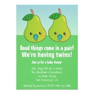 Whimsical pears twin baby shower invitation #twins #pears