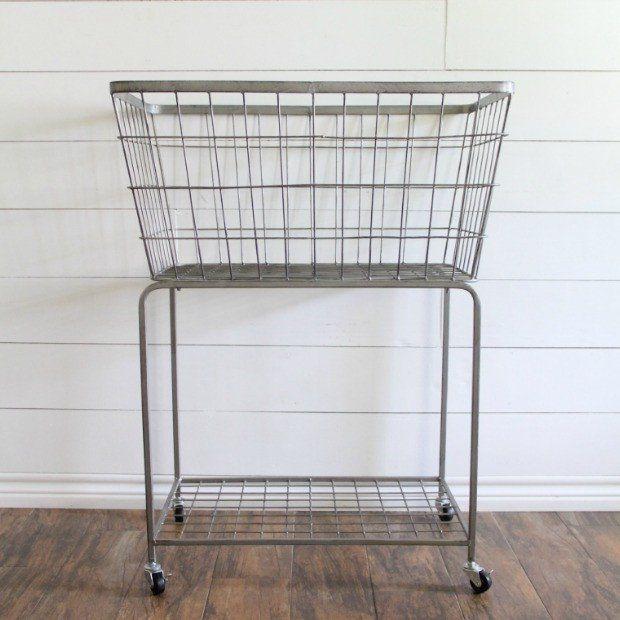 Metal Rolling Storage Laundry Basket