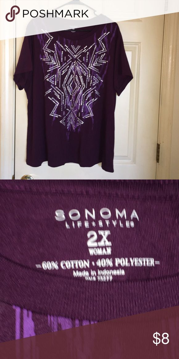Sonoma Purple Short Sleeve Top 2X Short sleeve tshirt top by Sonoma.  Deep purple color.  Front graphic print design.  Size 2X.  Good condition.  Important:   All items are freshly laundered as applicable prior to shipping (new items and shoes excluded).  Not all my items are from pet/smoke free homes.  Price is reduced to reflect this!   Thank you for looking! Sonoma Tops Tees - Short Sleeve
