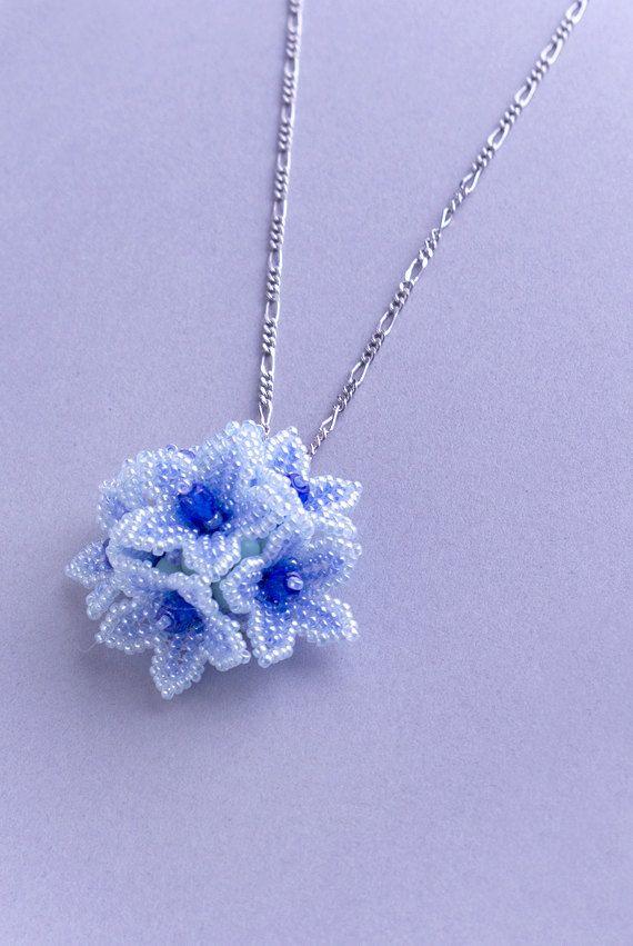 Blue flower pendant, beaded floral pendant, cute, dome pendant, elegant pendant mothers day, 1405