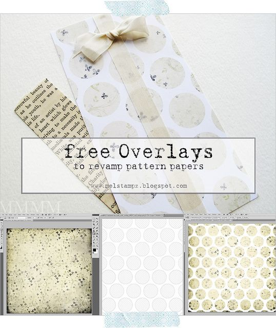 "free circle overlays for  revamping ""old"" patterned papers  - drag and drop using Photoshop, or fill the circles with patterns... or just print out for black & white dotted papers."