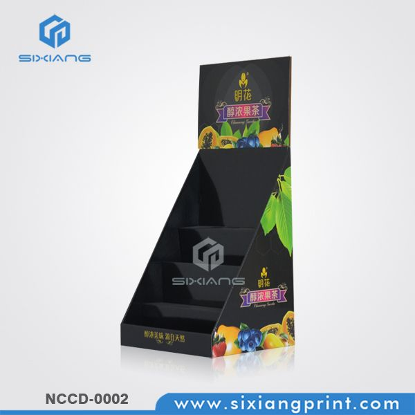 4 Tier Cardboard POP Counter Display For Fruit Drink
