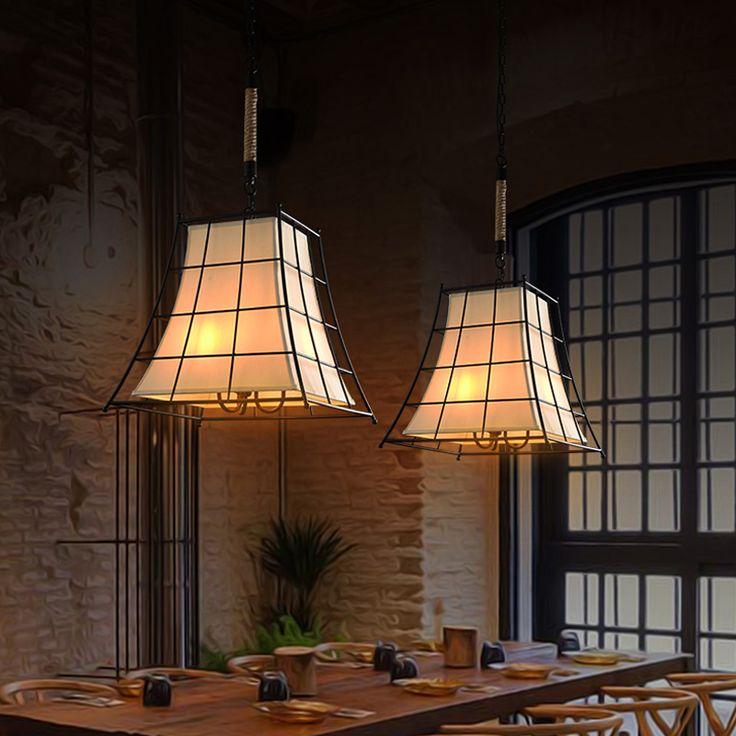 Винтаж подвеска лампа кухня промышленный подвесной светильник черный современные подвесные светильники ретро ткань абажур свет висит купить на AliExpress