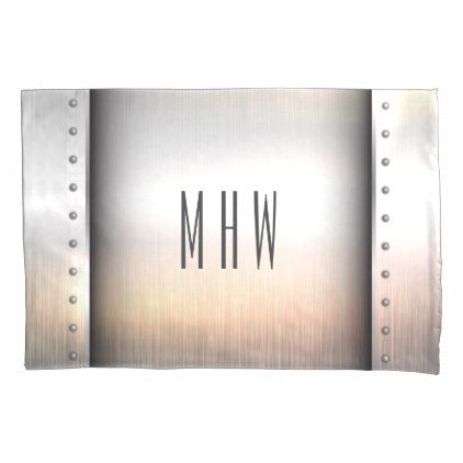 Faux Metal custom monogram pillowcase - faux gifts style sample design cyo