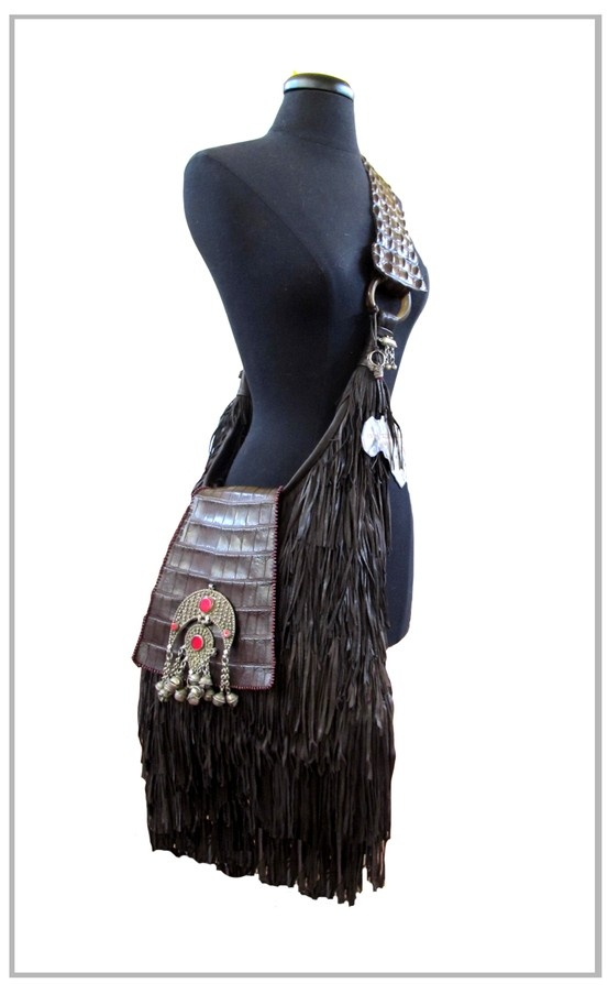 Brown Hobo Fringe bag With Crocodile Skin Strap, Antique Silver and Agate Embellishment.  We Deliver Worldwide. Order now by writing to us on Facebook or e-mailing sales@annatrzebinski.com.  For further information about our products, studio and upcoming trunk shows please feel free to contact us.