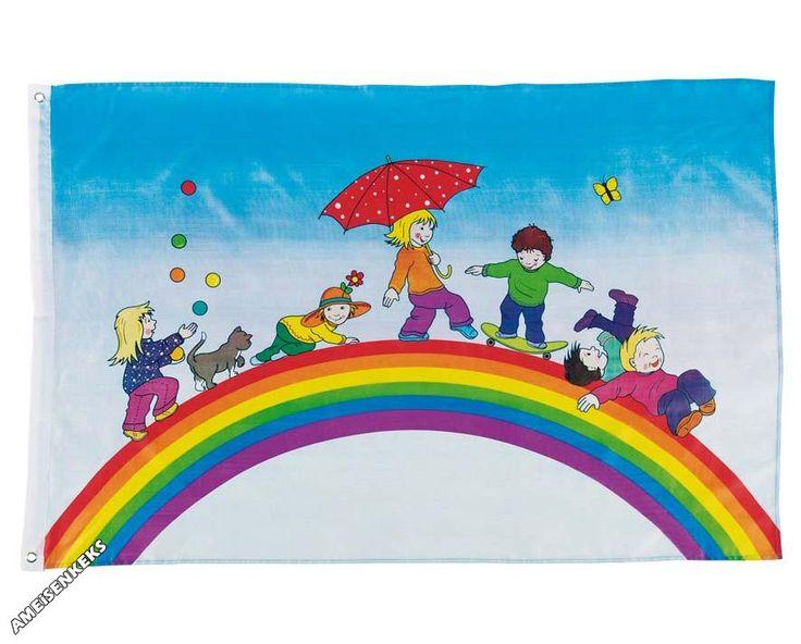 FLAGGE Spielende Kinder Kinderflagge Regenbogen Fahne Kinderfahne ...
