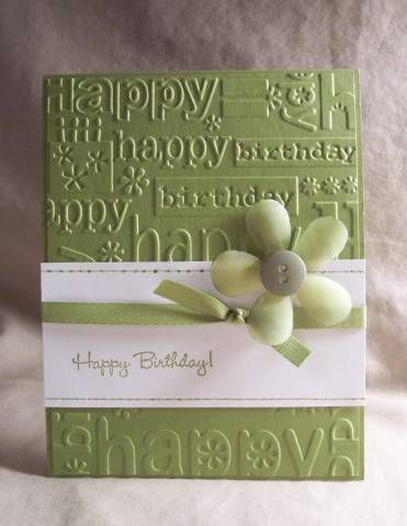 Happy Birthday-love the simplicity but WOW factor on this card!  Another demo card!: Vellum Flowers, Cards Ideas, Birthday Embossing, Happy Birthday Cards, Easy Happy, Happy Birthday Lov, Demo Cards, Paper Crafts, Embossing Happy