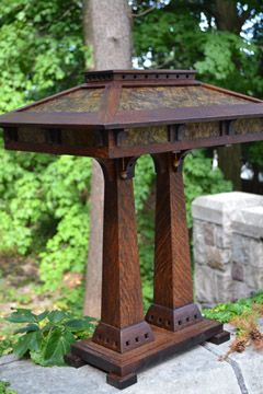 Arts Crafts Style Lighting Mission Mica Stained Glass Oak Table Lamps Prairie Craftsman Reading Lamps Mission Style from Ragsdale Home Furni...